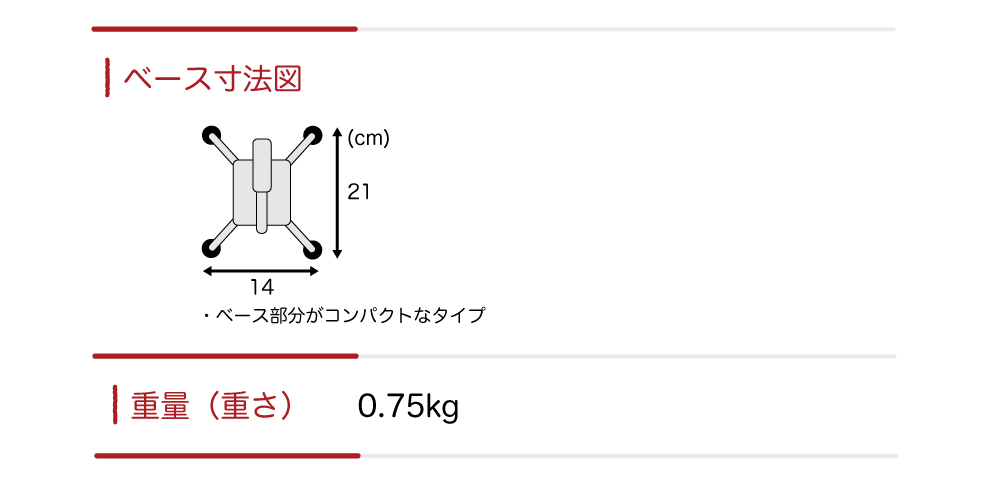ベース寸法図と杖の重さ