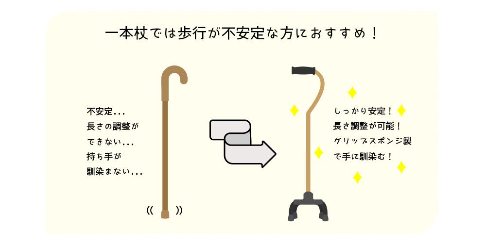 一本杖では歩行が不安定な方におすすめ